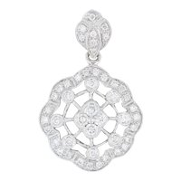 New .85ctw Diamond Cluster Flower Pendant - 18k White Gold Statement