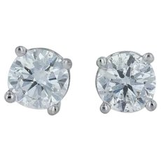 .47ctw Diamond Stud Earrings - 18k White Gold Round Solitaire Pierced