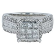 1ctw Diamond Cluster Cocktail Ring- 14k White Gold Size 7 Engagement