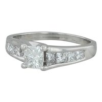1.28ctw Diamond Engagement Ring - Platinum Size 6.5 Princess Solitaire & Accents