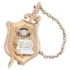 Phi Delta Theta Badge - 14k Yellow Gold Diamond Fraternity Pin 1913 Antique