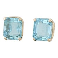 6ctw Aquamarine Stud Earrings - 14k Yellow Gold Emerald Cut Solitaire March