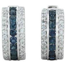 1.95ctw Blue Sapphire & Diamond Hoop Earrings - 14k White Gold Pierced Huggie