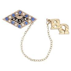 Alpha Delta Pi Badge - 10k Gold Pearls Synthetic Sapphires ADPi Sorority Pin
