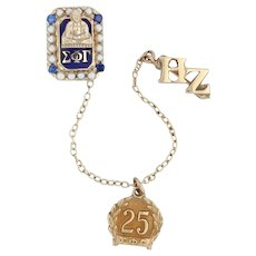 Sigma Phi Gamma Badge - 10k Gold Pearl Synthetic Sapphire 25 Year Sorority Pin