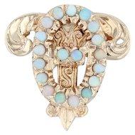 Theta Upsilon Badge - 10k Yellow Gold Opals Greek Sorority Member Pin Delta Zeta
