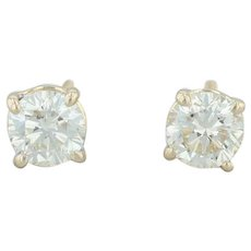 .88ctw Diamond Stud Earrings - 14k Yellow Gold Round Solitaire Pierced Screwback