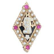Kappa Alpha Psi Badge - 10k Gold Diamond Pearls Synthetic Rubies Fraternity Pin