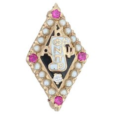 Kappa Alpha Psi Badge - 10k Gold Diamond Pearls Synthetic Rubies Fraternity Pin