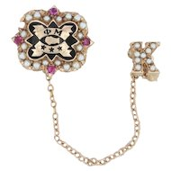 Phi Mu Badge- 10k Yellow Gold Rubies Pearls Enamel Sorority Pin & Chapter Guard