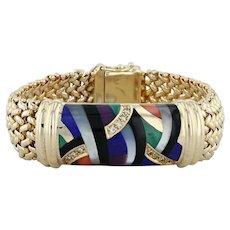 "Asch Grossbardt Mosaic Bracelet - 14k Yellow Gold Diamonds Multi-Gemstone 6.75"""