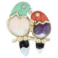 Asch Grossbardt Love Birds Brooch - 14k Gold Gemstones Perched Parrots Pin