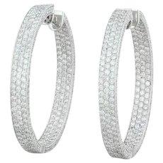 2.50ctw Diamond Inside Out Hoop Earrings 18k White Gold 32.8mm Pierced Women's
