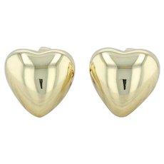 Tiffany & Co Puffy Heart Stud Earrings - 18k Yellow Gold Pierced T & Co Designer