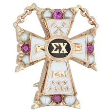 Sigma Chi Cross Badge - 10k Gold Pearls Rubies Fraternity Pin Vintage Greek