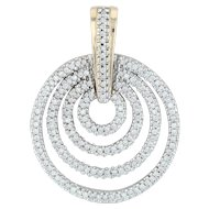 .85ctw Diamond Layered Circle Pendant - 14k Yellow White Gold Enhancer Statement