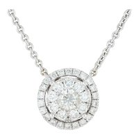 1.65ctw Diamond Eternity Circle Halo Pendant Necklace - 18k White Gold 16.5""
