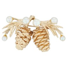 Pine Cone Statement Brooch - 14k Yellow Gold Cultured Pearls Nature Pin Conifer