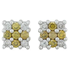 1ctw Diamond Stud Earrings - 14k White Gold White & Yellow Diamonds Pierced