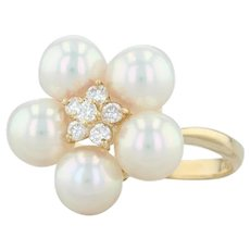 Mikimoto Cultured Pearl Diamond Cluster Flower Ring - 18k Gold Size 8 Cocktail