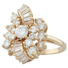 1.48ctw Diamond Cocktail Ring - 14k Yellow Gold Size 6.75 Cluster Flower
