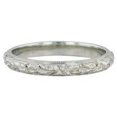 Belais Flower Engraved Ring- 18k White Gold Sz 5.25 Art Deco Band Floral Wedding