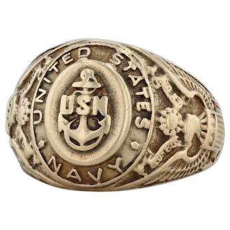 United States Navy Ring - 10k Yellow Gold Size 9.5 Vintage Military USN Signet