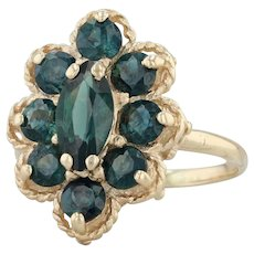 2.70ctw Teal Sapphire Ring - 14k Yellow Gold Size 5.75 Halo Cluster Cocktail