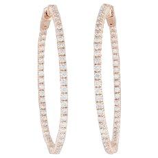 2ctw Diamond Inside-Out Hoop Earrings - 14k Rose Gold Pierced Round Hoops Hinged