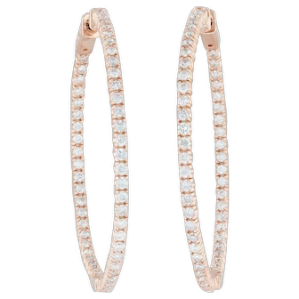 2ctw Diamond Inside-Out Hoop Earrings - 14k Rose Gold Pierced Round Hoops Hinged