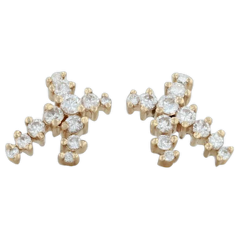 X Ribbon .70ctw Diamond Stud Earrings - 14k Yellow Gold Pierced Round Brilliant