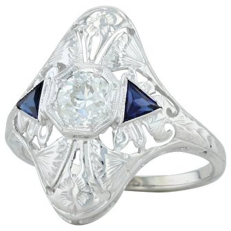 Art Deco Synthetic Sapphire & Diamond Ring - 18k White Gold Size 5.25 Floral