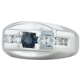 1.06ctw Blue Sapphire Diamond Ring - 14k White Gold Size 9 Men's