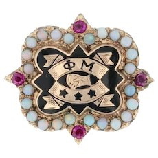 Phi Mu Badge - 10k Yellow Gold Opals Rubies Sorority Pin Vintage Greek
