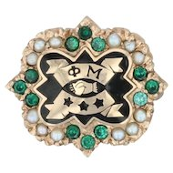 Phi Mu Badge - 10k Yellow Gold Pearls Green Stone Sorority Pin Vintage Greek