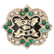 Phi Mu Badge - 10k Yellow Gold Pearls Green Stone Sorority Pin Vintage Greek
