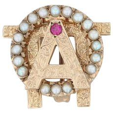 Alpha Omicron Pi Badge - 10k Yellow Gold Pearls Synthetic Ruby Sorority Pin