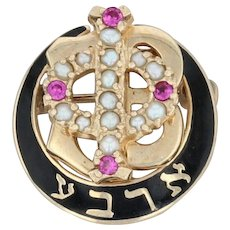 Gamma Phi Beta Badge - 10k Yellow Gold Sorority Pearls Synthetic Rubies Pin