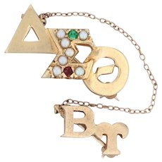 Delta Sigma Theta Badge - 14k Gold Pearls Glass Garnets DST Sorority Pin