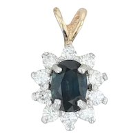 1.07ctw Blue Sapphire & Diamond Halo Pendant - 14k Yellow Gold Oval Drop