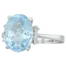 5.61ctw Aquamarine Diamond Cocktail Ring- 14k White Gold Sz 10.25 Oval Solitaire