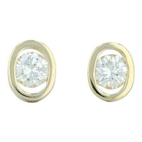 .45ctw Diamond Stud Earrings - 18k Yellow Gold Pierced Round Brilliant Soltaire