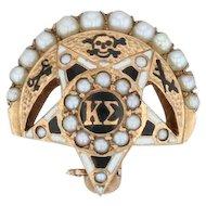 Kappa Sigma Badge - 14k Gold Pearls Moon Star Fraternity Pin Vintage Greek