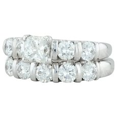 2.51ctw Diamond Engagement Ring Wedding Band Set - 14k White Gold LEO 1257495