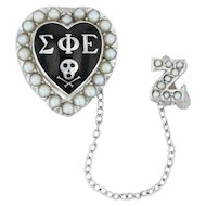 Sigma Phi Epislon Skull Heart Badge - 10k White Gold Pearl Fraternity Pin