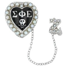 Sigma Phi Epislon Skull Heart Badge - 10k White Gold Pearl Fraternity Pin