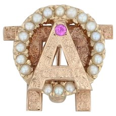 Alpha Omicron Pi Badge - 10k Yellow Gold Pearls Synthetic Sapphire Sorority Pin