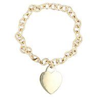 Tiffany & Co Heart ID Tag Charm Bracelet - 18k Yellow Gold Cable Chain 7.5""