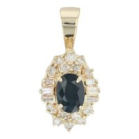 1.46ctw Blue Sapphire & Diamond Halo Drop Pendant - 14k Yellow Gold September