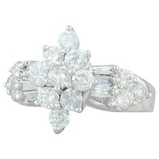 2ctw Diamond Cocktail Ring - 10k White Gold Size 7 Flower Cluster